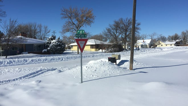 Mail boxes are snowed in in Big Sandy.