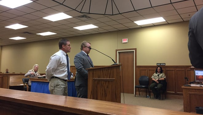 Darin Plumlee, right, in court on Feb. 13, 2018, in Wilson County.