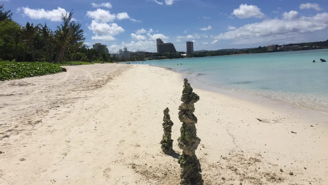 Limestone rocks piled on a beach in Tumon near the Hyatt Regency Hotel in January 2018.