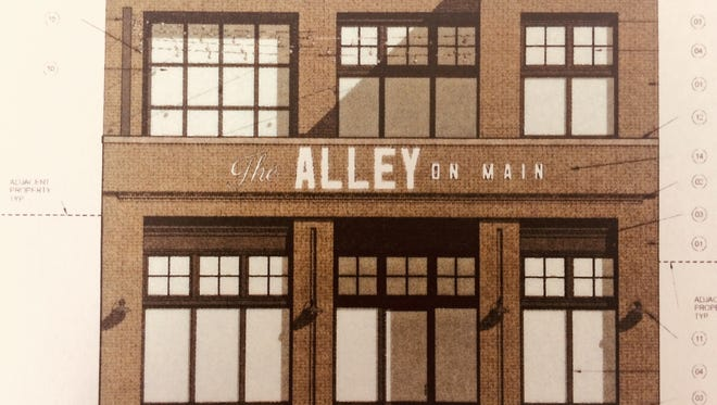 Rendering of the new concepts The Alley on Main, owned by Shawn and Christy Hackinson, will open later in 2018. The new structure will hold a first-floor event venue and eatery and the second floor will be a rooftop bar.