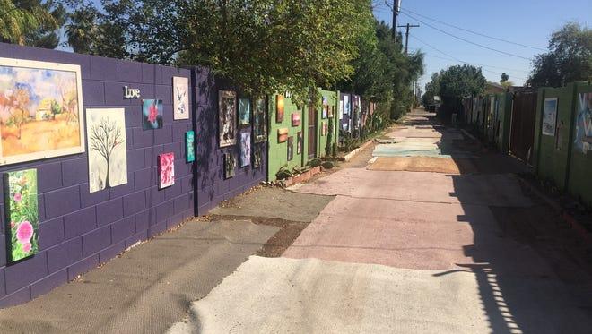 An alley in the Coronado neighborhood of Phoenix was turned into an art gallery.