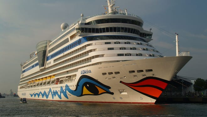 German line Aida Cruises has made giant colorful lips a signature of its hull art design.
