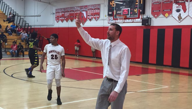 Immokalee coach Garrett Hull calls out a play during the third quarter of the Indians' 67-66 loss to Bradenton-Bayshore in a Class 6A regional quarterfinal Thursday night.