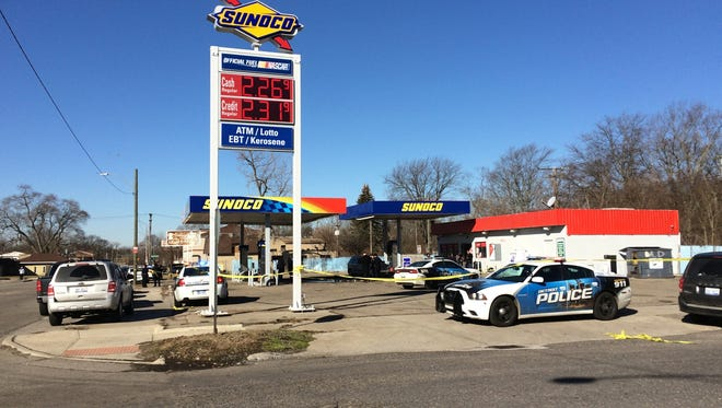 Three people were shot and killed Monday morning at a gas station in the 22000 block of Fenkell Avenue on Detroit's west side.