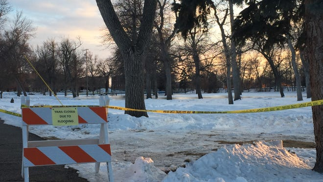 A water line break flooded the south end of Gibson Park.