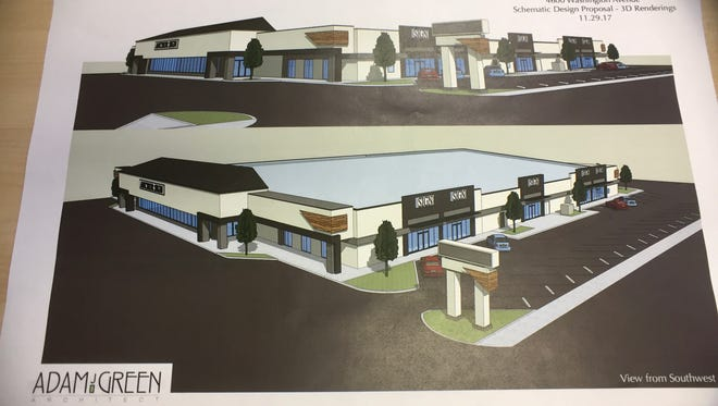 Renderings of a redevelopment plan for the former Schnucks store on Washington Avenue
