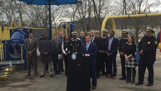 Cincinnati Mayor John Cranley speaks about flood recovery efforts on Feb. 28, 2017 at the LeBlond Recreation Center.