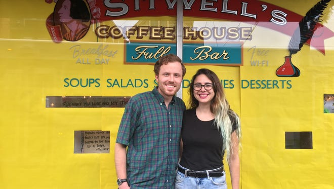 Alex Barden and Florencia Garayoa, the new owners of Sitwell's Coffee House in Clifton, pose outside.