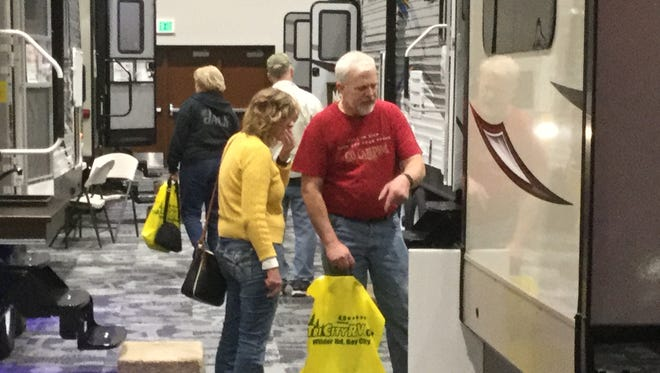 Checking out RVs at the Port Huron Camper & RV Show.