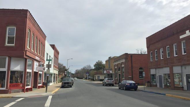 Businesses line Market Street in Onancock, Virginia on Wednesday, Feb. 28, 2018.