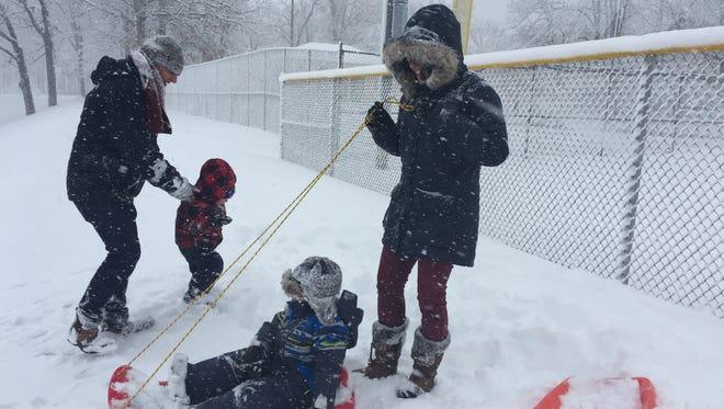 Sledders braved Friday's snow storm for Rec Park in Binghamton.