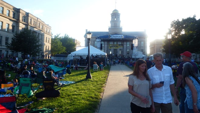 The main stage at the Summer of the Arts' Iowa City Jazz Festival is shown on July 2, 2017.