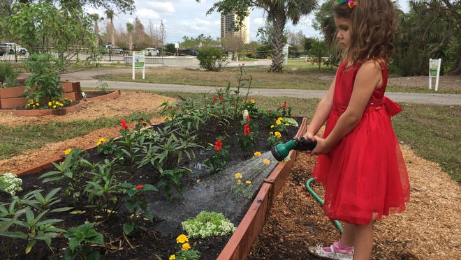 Rylee Carroll, 4, is one of the Children's Garden's biggest fans. She's the granddaughter of Wendi Carroll, an executive board member and chair of the children's garden committee. She loves to help her grandmother water the raised gardens.