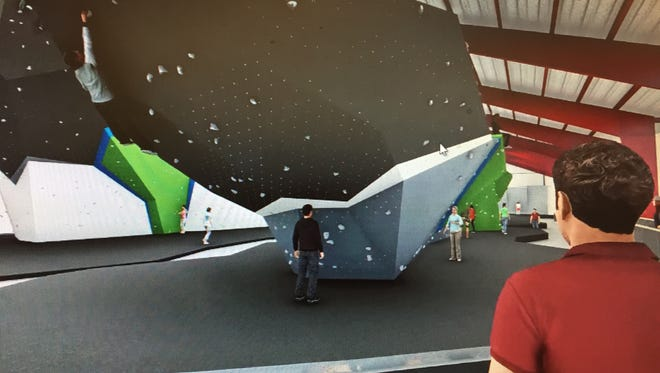 An animated idea of what the climbing walls will look like at Whetstone Climbing, which is expected to open later this year in south Fort Collins.