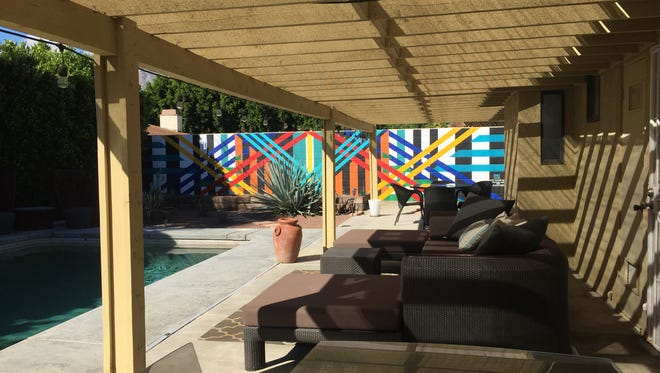 A custom mural was painted on the backyard wall of Sanctuary Palm Springs' new location.