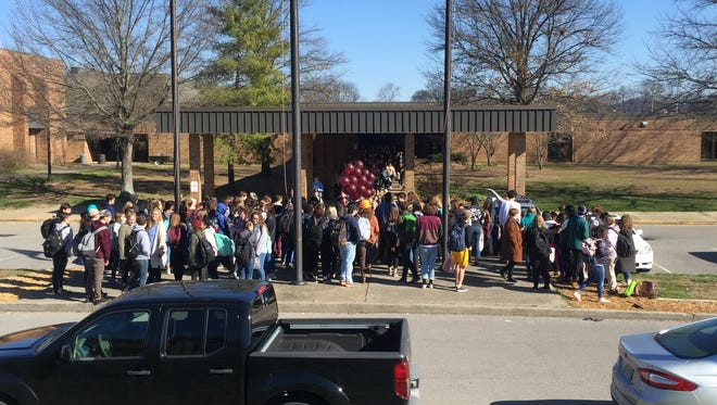 Hundreds of Brentwood High School students participated in the National School Walkout on Wed. March 14, 2018 in Brentwood.