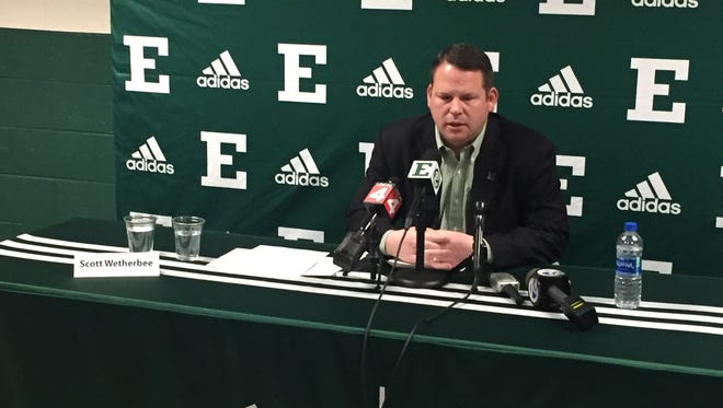 Eastern Michigan University Athletic Director Scott Wetherbee addresses the media after announcing the school was cutting four sports due to budget issues