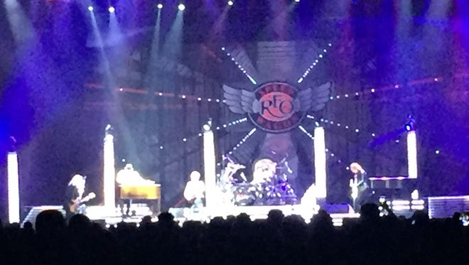 REO Speedwagon on the stage Wednesday night at the Ford Center. Styx and Don Felder also were part of the show.