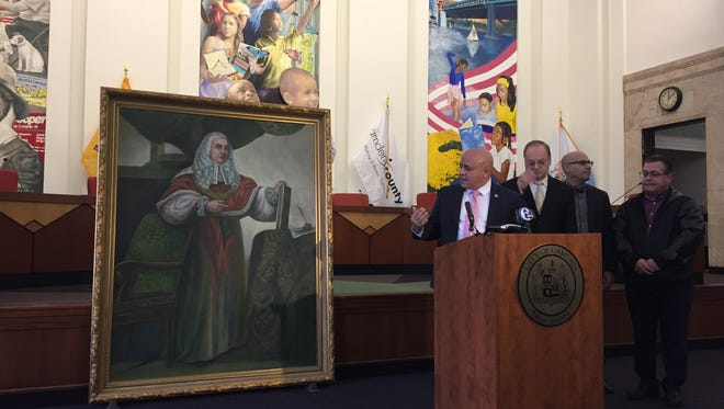 Camden Mayor Frank Moran talks about Raphael Senseman's 1928 portrait of Charles Pratt, the Lord of Camden.