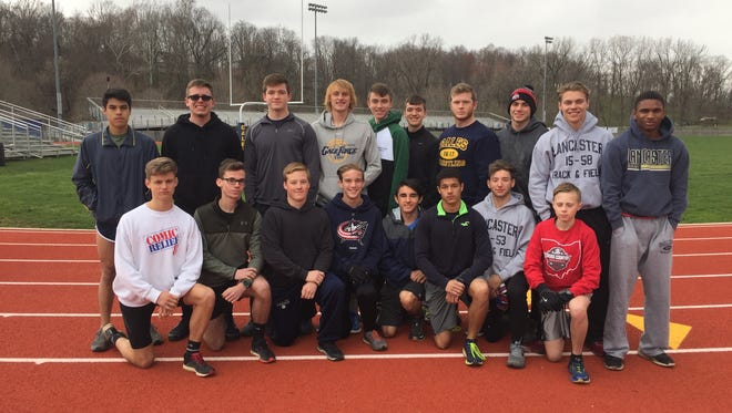 Several members of the Lancaster boys track team  who were available for a photo on Wednesday were: Back row, left to right: Ambronsio Suarez, Barrik Maddox, Reese Burwell, Christian Bradford, Chase Haley, Drew Ward, Spencer Smith, Jesse Fragoso, Mason Hamilton and Ty Schmelzer. Front row, L-R: Will Metcalf-Shull, Adam Murray, Morgan Simmons, Justin Anderson, Drake Dickerson, Bryden Moxley, Derek Hanna and Nathan Craft.