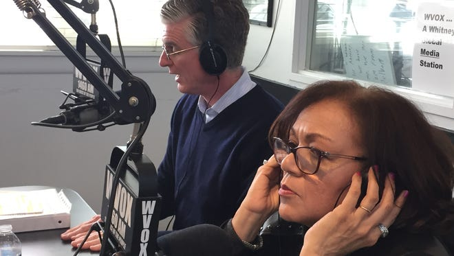 """Republican Jim Freeman and Democrat Terry Clements during a candidates forum on WVOX Radio's """"High Noon,"""" April 5, 2018. Clements and Freeman are facing off in an April 24 special election for an open Westchester legislative seat in New Rochelle and Pelham."""