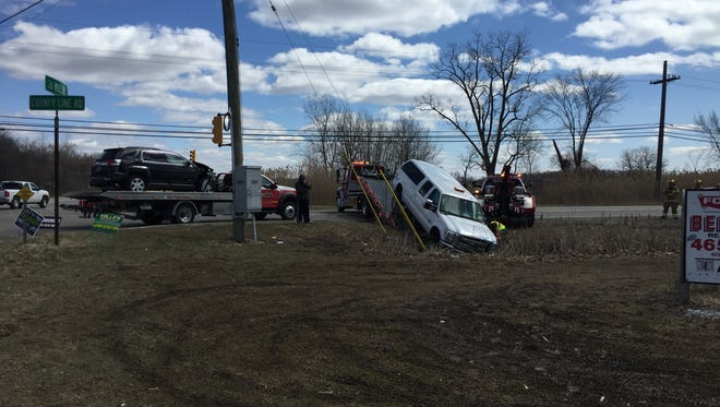 Minor injuries were reported following a crash at Marine City Highway and County Line Road Saturday.