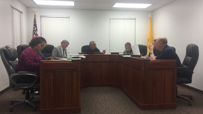 Village of Loving Council discuss business at Wednesday's meeting, April 11, 2018.