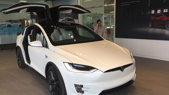 A motorist in a Tesla Model X reportedly hit a bicyclist in Mount Laurel and then left the scene.
