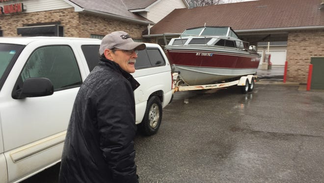 Jim Freeborough, of Lexington, had his boat inspected for the approaching boating season.