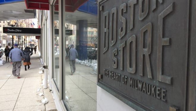 """Boston Store's downtown location, once the flagship of the chain, is marked by plaques declaring it to be """"The Heart of Milwaukee."""""""