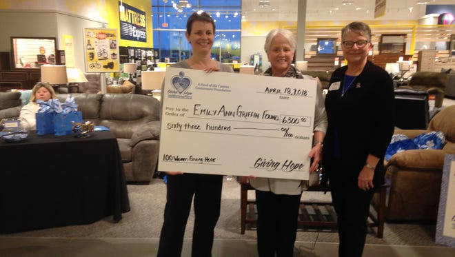 "Iger Griffin (left) says the Emily Ann Griffin Foundation ""will do wonderful things"" with the GIving Hope grant. Giving Hope members Betty Bloch and Joan Noricks (right) presented the award."