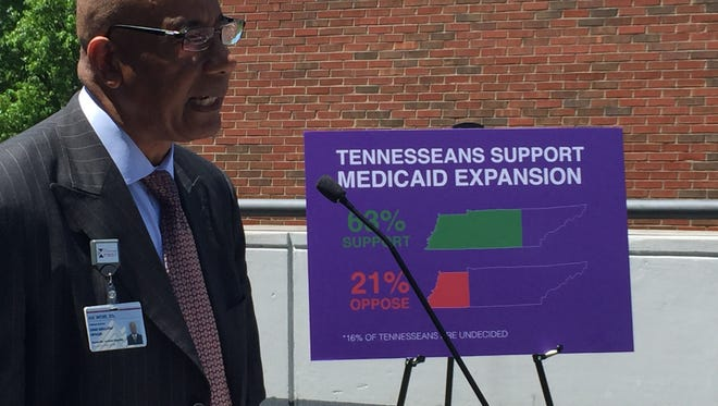 Dr. Joseph Webb, CEO of Nashville General Hospital, speaks at an announcement that revealed results from a poll recently conducted that shows support from voters for Medicaid expansion in Tennessee.