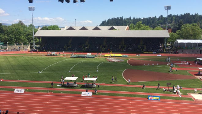 Athletes compete at the state track and field meet at Hayward Field.