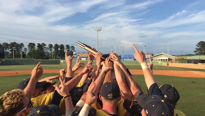The Augustana Vikings baseball team celebrates after defeating Southern Arkansas.