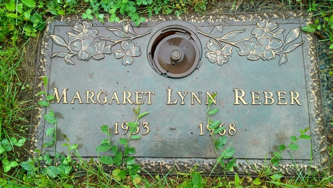 "The tombstone of Margaret Lynn ""Peggy"" Reber at Grand View Memorial Park in North Annville Township."