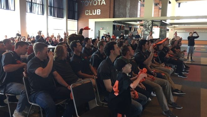 Oregon State baseball players and fans react during the NCAA Selection Show in the Toyota Club at Reser Stadium on May 28, 2018.