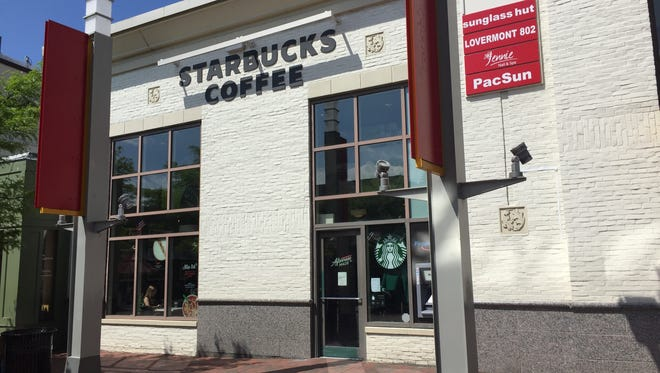 The Starbucks cafe on Burlington's Church Street Marketplace is pictured May 29, 2018.