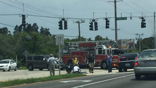 Crash near U.S. 1 and Suntree Boulevard leaves one injured and northbound lanes blocked. June 1, 2018.