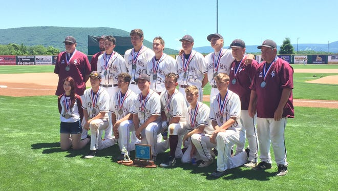 Southern Fulton's baseball team poses with its second place medals after falling 5-3 in the PIAA 1A state championship game.