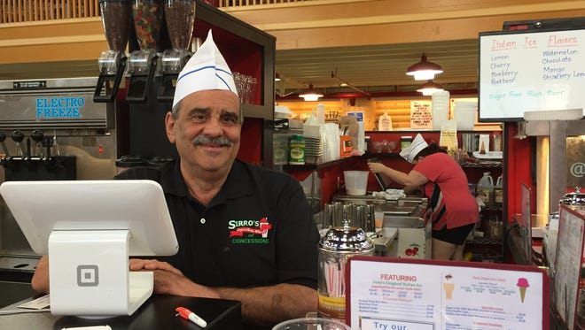 John Sirriannia, owner of Sirro's Original Italian Water Ice and Malt Shop, at his stand inside the Lebanon Farmers Market.