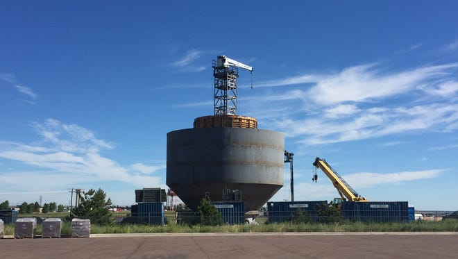 A new water tower for the city of Great Falls is being constructed on Gore Hill across from the Great Falls International Airport