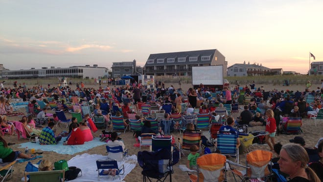 Dewey Beach Movies start at about 8:30 p.m. every Monday on the beach at Dagsworthy Avenue in Dewey.