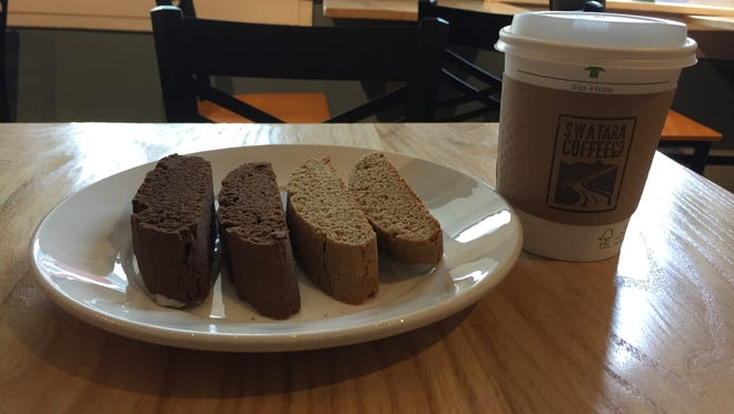 A shot of Jim's Chocolate Espresso Biscotti (left), the Swattie Biscotti (middle) and a Kayaker's Coffee, all special at Swatara Coffee Co. in Jonestown for Swatara Food & Brew Weekend.