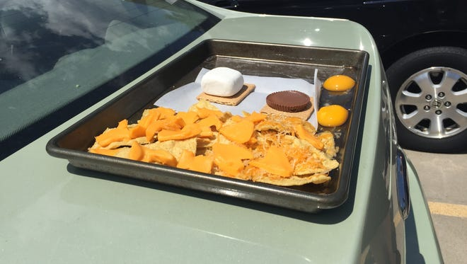 We tried cooking nachos, s'mores and eggs on a car in Fort Collins.