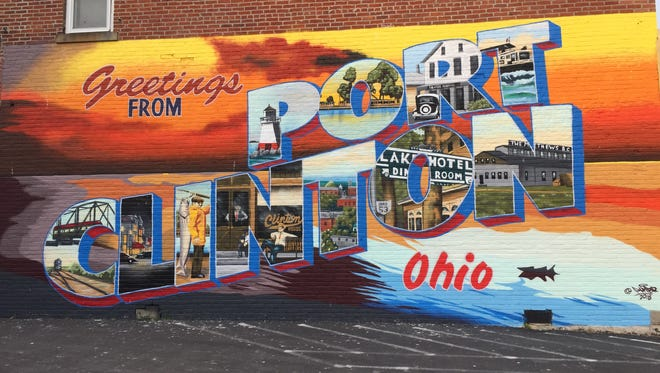 This post card mural is one of the new attractions in Port Clinton.