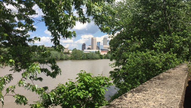 The view of Downtown from the White River Trail between White River and the Indianapolis Zoo is magic.