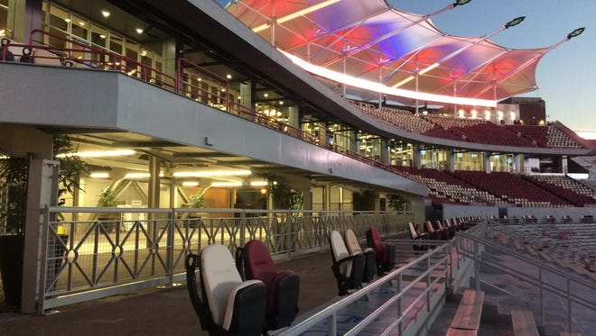 A view of the Albert J. and Judith A. Dunlap Champions Club at Doak Campbell Stadium. FSU trustees, at the suggestion of the Seminole Boosters, voted to name the new addition in honor of the Dunlaps who pledged an additional $5 million to the Boosters in November 2016. Also on campus is the Albert J. Dunlap Athletic Training Facility and the Al Dunlap Football Practice Fields.