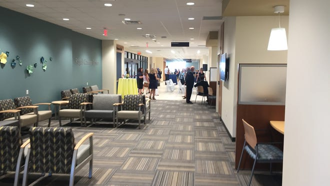 The lobby of the Rogel Cancer Center at the University of Michigan's new Brighton Center for Specialty Care is seen Tuesday, Aug. 28, 2018.