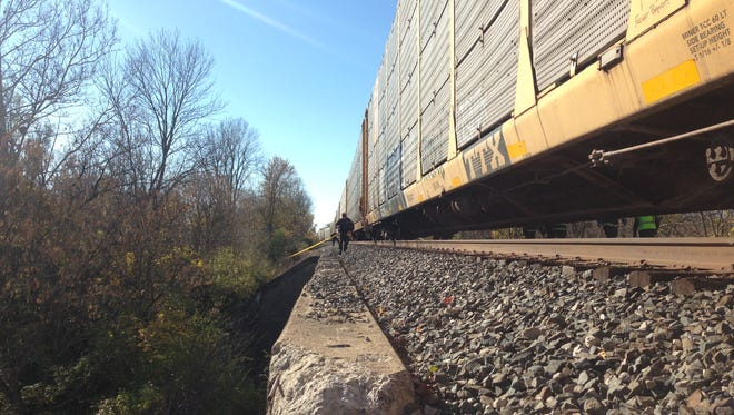 Authorities responded to a train-pedestrian incident Saturday.