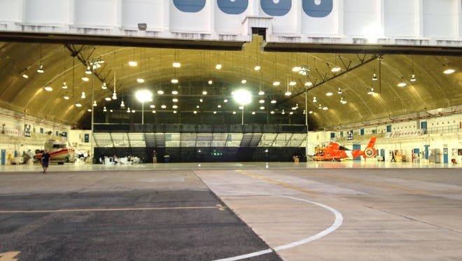 The hangar that housed Louisville's season opener against Minnesota at US Air Station Borinquen in Aguadilla, Puerto Rico.
